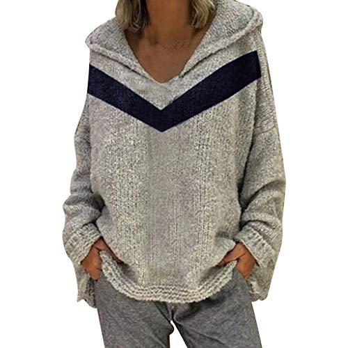 digan Kapuzenpullover Blauer Pullover mit V-Ausschnitt Bluse Oberteile Oversize Tops(Grau,XL) ()