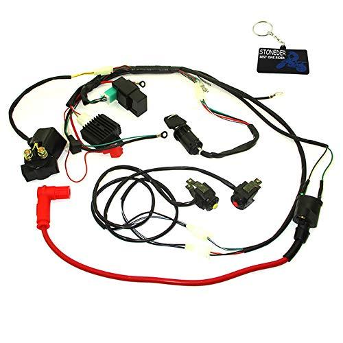 STONEDER Kabelbaum CDI Zündspule Schalter Spannungsregler Gleichrichter Starter Magnetrelais Set für chinesische 125 140 150 cc E-Start Motor Pit Dirt Bike WPB Orion Hz, Thumpstar