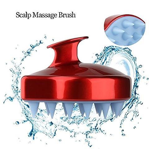 Kopfhaut Massagegerät Haar Shampoo Pinsel Kopf Körper Massage Kamm Stress Fatique Relief rot