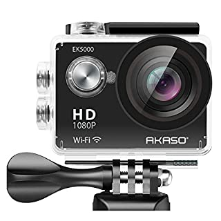 AKASO EK5000 1080P Sports Action Camera Full HD Camcorder 12MP WiFi Waterproof Camera 2 Inch LCD Screen 170 Degree Wide View Angle With 2 Rechargeable Batteries (Manufacturer Refurbished)