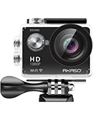 AKASO EK5000 1080P Sports Action Camera Full HD Camcorder 12MP WiFi Waterproof Camera 2 Inch LCD Screen 170 Degree Wide View Angle With 2 Rechargeable