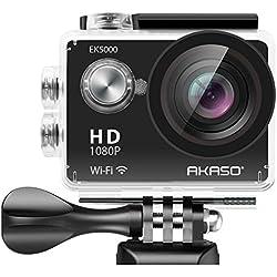 AKASO Ek50001080p Sports Action Camera caméscope Full HD 12MP Wifi Caméra étanche écran LCD de 5,1cm Grand Angle de vue de 170degrés avec 2piles rechargeables (fabricant Refurbished)