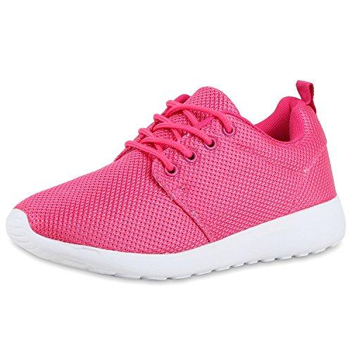 Flache Unisex Damen Herren Laufschuhe Profilsohle Sportschuhe Schnüren Sneakers Freizeitschuhe Pink