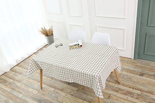 Schwarz-Weiss kariert Esstisch Tischdecken 100% Leinen Rechteck Tisch Hülle für Haushalt Cafe Party Outdoor, 140*180cm