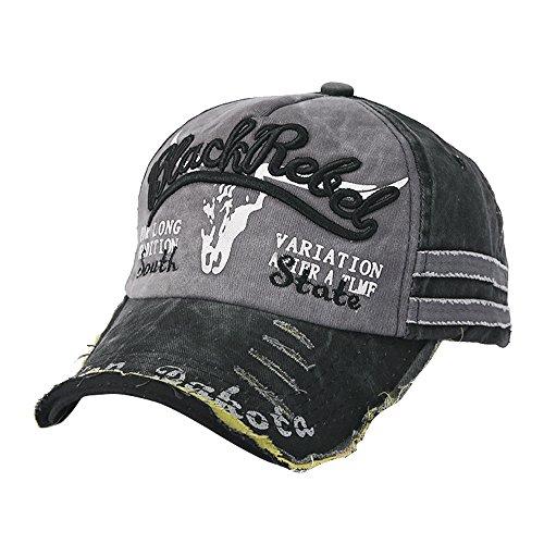 UJUNAOR Herren Frauen Brief Stickerei Baseballmütze Baseball Caps Snapback Sport Hüte Im Freien(Schwarz,One Size) (Zeitgenössische Hip Hop Kostüm)
