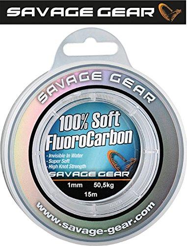 Savage Gear Soft Fluorocarbon Schnur 1,0mm 15m 50,5kg Angelschnur monofil, Fluoro Carbon Schnur, Vorfachschnur, Leader für Vorfächer