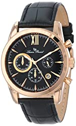 Lucien Piccard Mens LP-12356-RG-01 Mulhacen Chronograph Black Textured Dial Black Leather Watch
