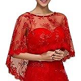Sonnenschein Braut Brautkleid Schal Rote Spitze Hedging Capes Sommer Braut Tüll Bolero Kurz Vorderseite Rückseite Lange-Rot