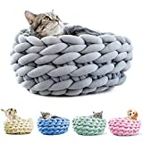 HC® Handmade Crochet Cat Cushion Bed, Luxury Cozy Comfortable Pet Bed, Cotton Warm Cat Sleep Basket - Grey, 35cm