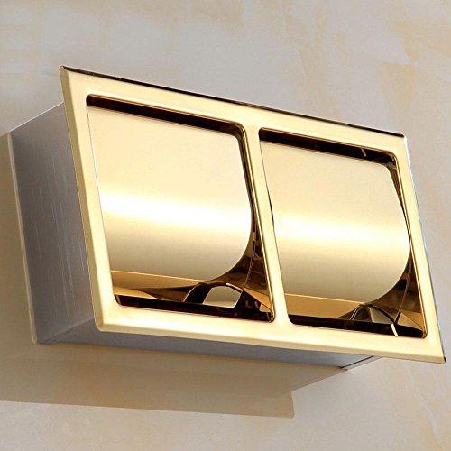 SDKKY-304 Edelstahl Unterputz-Volumen Tablett, eingebettet Doppel Handtuchhalter, Europäische goldene Toilettenpapierhalter -