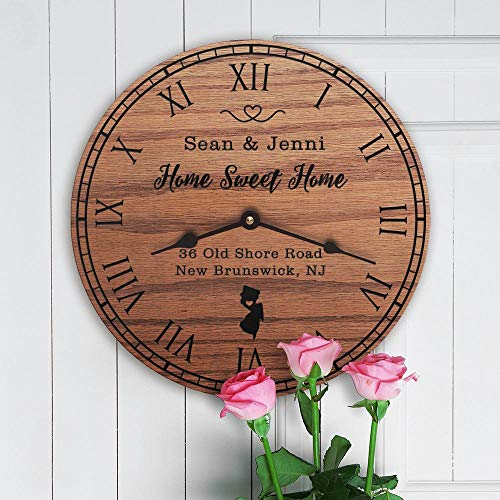 mengliangpu8190 New Jersey Housewarming Gift New Home State Map Living in New Jersey Home NJ Garden State Home Sweet Home Street Address, Clock Only, 12