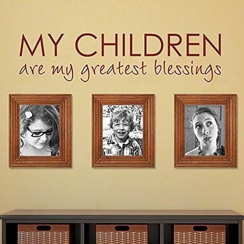 My Children Are My Greatest blessings-custom Nursery decalcomania Bibbia benedizione per la camera Citazione Home Love Adesivo da parete con (grande, marrone scuro)