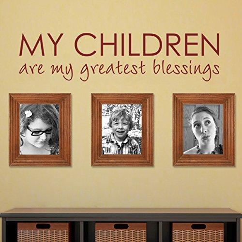 My Children are my Greatest blessings-custom nursery Decal Bible benedizione citazione camera da letto decalcomania Home Love Art Wall Sticker (Large, marrone scuro)