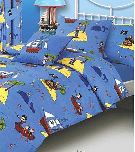 Junior / Kinderbetten Bettbezug, Schatzinsel Fische, Wal, Meer Und Piraten Piratenschiff Skull Bones &- Papagei, Blau, Gelb, Schwarz, Weiß, Rot