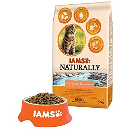 Iams Naturally Cat Food with North Atlantic Salmon and Rice, Complete and Balanced Cat Food with Natural Ingredients, 3… 3