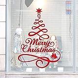Weihnachten Wandaufkleber,3D Weihnachtsbaumform Wandsticker Wandtattoos Fensteraufkleber Rot Weiß Wandbilder Wasserdicht Sticker Hintergrund Wand Shop Dekoration (57x40cm, Rot)