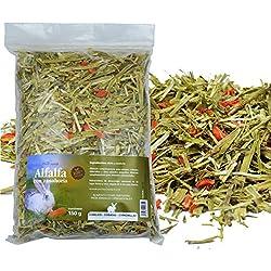 FINCA CASAREJO HENO para Conejos - Alfalfa con Zanahoria - Bolsa 600g - Alimento complementario para Conejos, cobayas y Chinchillas (1 Unidad)