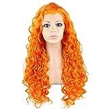 Iwona arancione capelli sintetici lunghi resistente al calore celebrità moda ricci Lace Front parrucca Cosplay