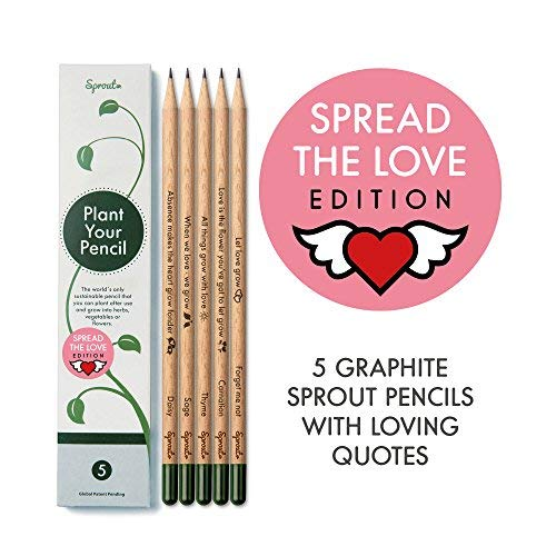 Scatola di matite sprout love edition | pacchetto da 5 | matite da piantare | in legno organico e naturale | set da regalo con un cuore- frasi tenere | semi da fiori e piante aromatiche incluse
