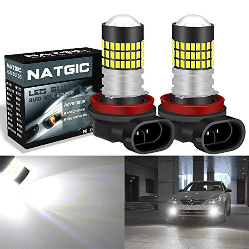 NATGIC H11 / H8 / H9 Ampoules LED 3014SMD 78-EX Jeu de puces pour projecteur de lumière de brouillard, blanc xénon 6500K, 12-24V 4W (pack de 2)