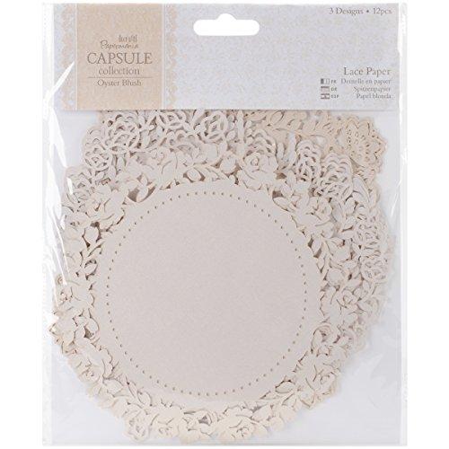 Unbekannt Papermania 29,7x 21cm 12Kapsel Spitze Papier, weiß (12x12 Oyster)