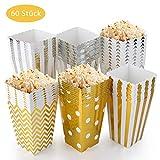 EKKONG Popcorn Boxen 60 Stück, Popcorn Box Pappe Candy Container Partytüten Behälter für Party Geburtstag Hochzeit Geschenk (12 x 7CM, Gold und Silber) (60 Stück)