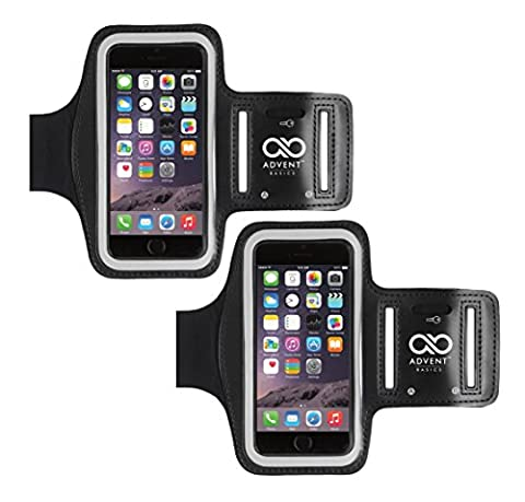 Advent Basics™ Sports Armband For Smartphones Up To 4.7 To 5.5 inch (Black) (Arm Band Pack Of