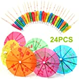 24 Mixed Paper Cocktail Umbrellas Parasols Party Drinks