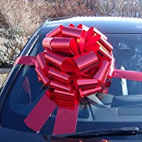 Jaffa Imports MEGA GIANT CAR BOW (16 inch) + 6 METRES of RIBBON for Cars, Bikes, Big Birthday & Christmas Gifts - METALLIC RED