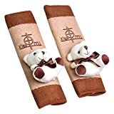 Happy Cherry 1 Paar Bär Sicherheitsgurt Pads Auto Schulterpolster Gurtpolster Kletverschluss Gurtschoner Komfort Gurtschutz für Kinder Baby Autositz, Braun