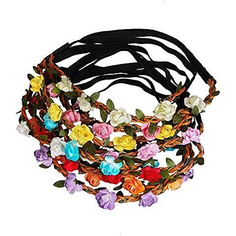 Sumolux 12 pcs Coronas de Flores Diadema de Flores Adorno de Pelo Accesorio para Cabeza Girnalda Floral Estilo Boho Para Niña Chica Mujer Fiesta Boda Viaje