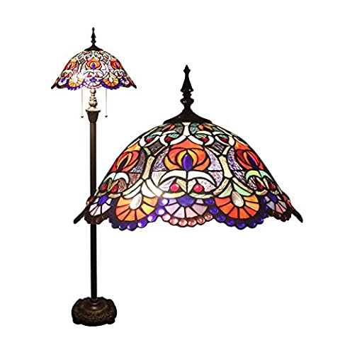 16 Inch European Gorgeous Vintage Stained Glass Floor Lamp Dining Room Lamp
