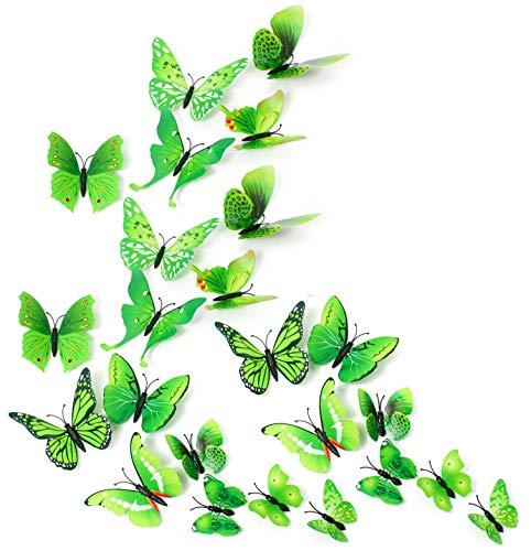 MissBirdler 24 Schmetterlinge Grün 3D Effekt Kühlschrank Schmetterling Magnet Wandtattoo Wand Fenster Aufkleber Dekoration Wanddekoration Wohnzimmer Küche Kinderzimmer Deko Wall Sticker - Küche Kühlschrank-magnete