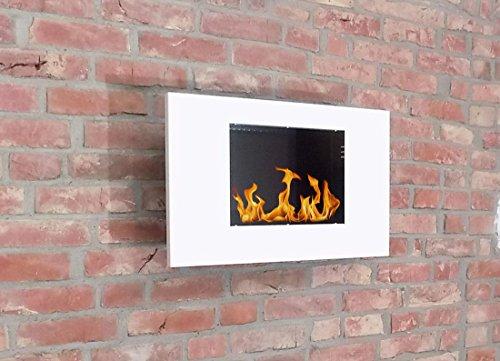 Verzinkt Solide Regal (BBT@ / Metall-Gelkamin Midi Weiss / Ethanolkamin für Brenngel oder Bio-Ethanol / Echtes Kamin-Feuer ohne Rauch Asche oder Staub / Inklusive Brennstoff-Dosen)