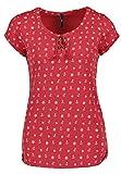 Sublevel Damen T-Shirt mit Allover-Minimal Ankerprint | Maritimes Shirt mit Kordeln red L