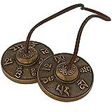 Avs Stores Handmade Brass Decorative Traditional Indian Music Instrument Manjeera Pair (2 IN, Seven Symbol Golden)