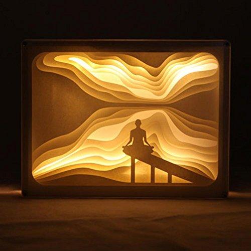 OOFAY LIGHT® Licht und Schatten Papier Geschnitzt Lampe Yoga Bedside Dekorative Lampe DIY Geburtstag Kreative 3D Nachtlicht Fernbedienung Valentinstag Geburtstagsgeschenk