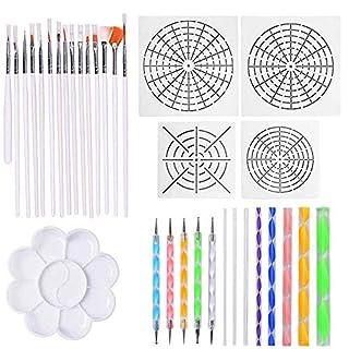 Amasawa 33 Stück Mandala Dotting Tools mit Schablonen und Malpalette für Steine Verschiedene Größe Malwerkzeuge