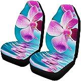 YSHa Belles Fleurs d'orchidées reflétées dans l'eau Couvre de siège de Voiture Avant Ensemble de 2