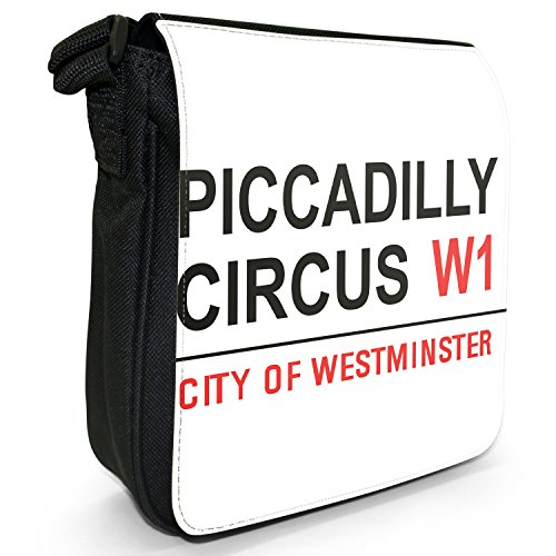 Fancy A Snuggle Piccadilly Circus London West End Kleine Schultertasche aus schwarzem Canvas -