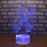 Nmdztz 3D Night Light Ballet Shoes Night Light Colorful Led Lights Girl Bedside Lamp Luminous USB Lamp