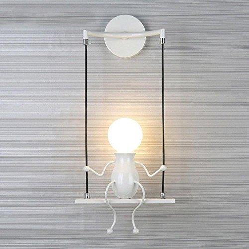 Foto de Modern Luz de Pared Lámpara de Pared Creativo Diseño Niños Aplique de Pared Interior Iluminación Metal Infantil Luminaria Iluminación de Pared para Balcón Corredor Dormitorio Decorativa E27 , Blanco-1