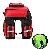vitalite-triple Cycling Rear Pannier bag 70L multifunzione bici portapacchi borsa sella con copertura antipioggia, Red