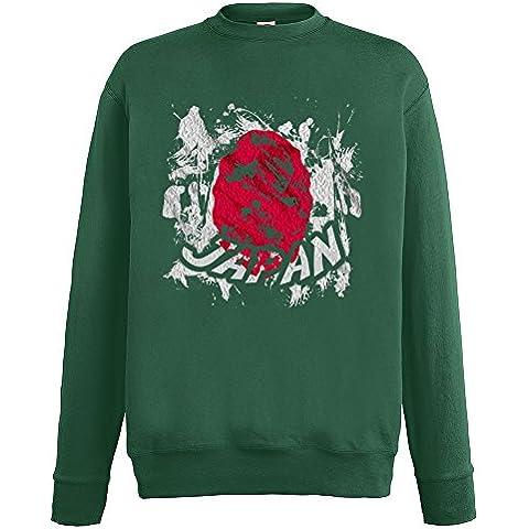 Bandiere Firmata Collezione 2, Fruit of the Loom Verde Bottiglia Mens Sweatshirt Uomo Felpa Set-In Leggera con Design Colorato. Taglia S M L XL 2XL. - Vintage Firmata Giappone