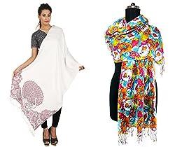 Stylezee Viscose Jamawar Self Design Shawl With Pashmina Shawl