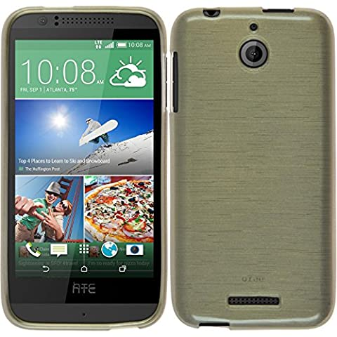 Coque en Silicone pour HTC Desire 510 - brushed or - Cover PhoneNatic Cubierta + films de protection