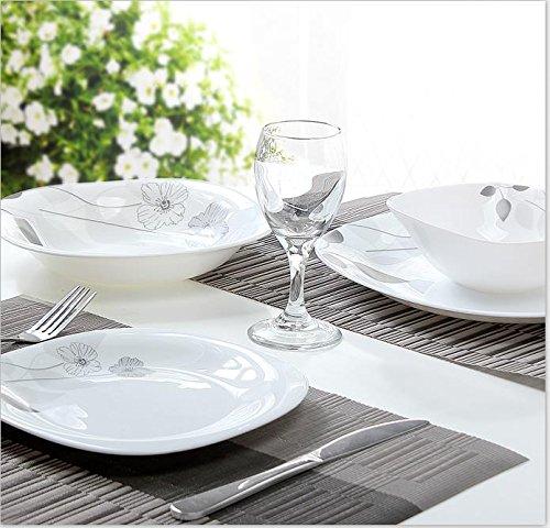 24 Teile Tafelservice Geschirr Set Service Tellerset Teller Opal Glas Opalglas LN11-9