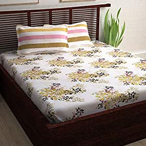 Story@Home 120 TC 100% Cotton Candy Gold Collection 1 Double Bedsheet and 2 Pillow Cover - Floral, Cream
