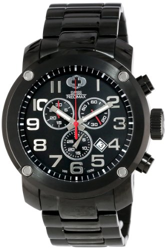 Swiss Precimax Men's SP13013 Marauder Pro Black Dial with Black Stainless Steel Band Watch