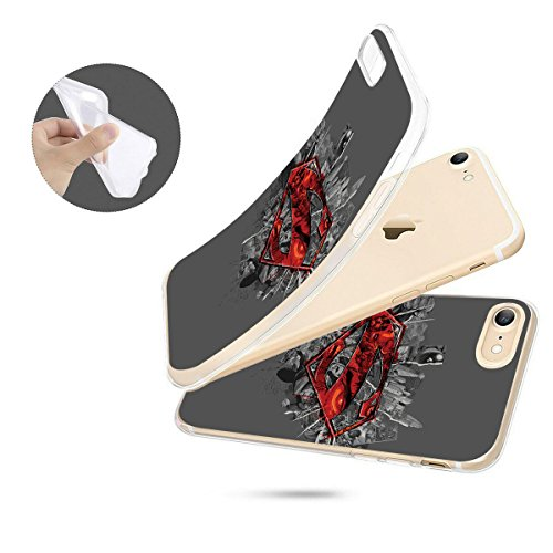 finoo | iPhone 8 Weiche flexible Silikon-Handy-Hülle | Transparente TPU Cover Schale mit Motiv | Tasche Case Etui mit Ultra Slim Rundum-schutz |Superman logo transparent Superman logo city red